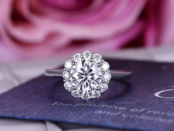 Flower Shape Diamond Halo Ring 2 CT VVS1 Diamond 14K White gold Over FREE SIZING