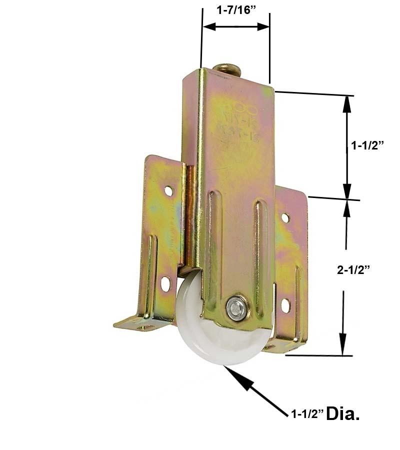 """Mirrored Sliding Closet Door Rollers: Mirror Closet Door 1-1/2"""" Plastic Roller For Cox Closet Doors"""