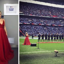 Natalie Rushdie stuns in Sassi Holford gown at Wembley Stadium
