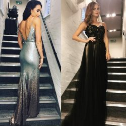 Laura Wright & Sophie Evans wear Sassi Holford gowns at 'Sunday Night at the London Palladium'