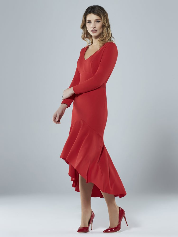 Sassi Holford Red Fluted Dress