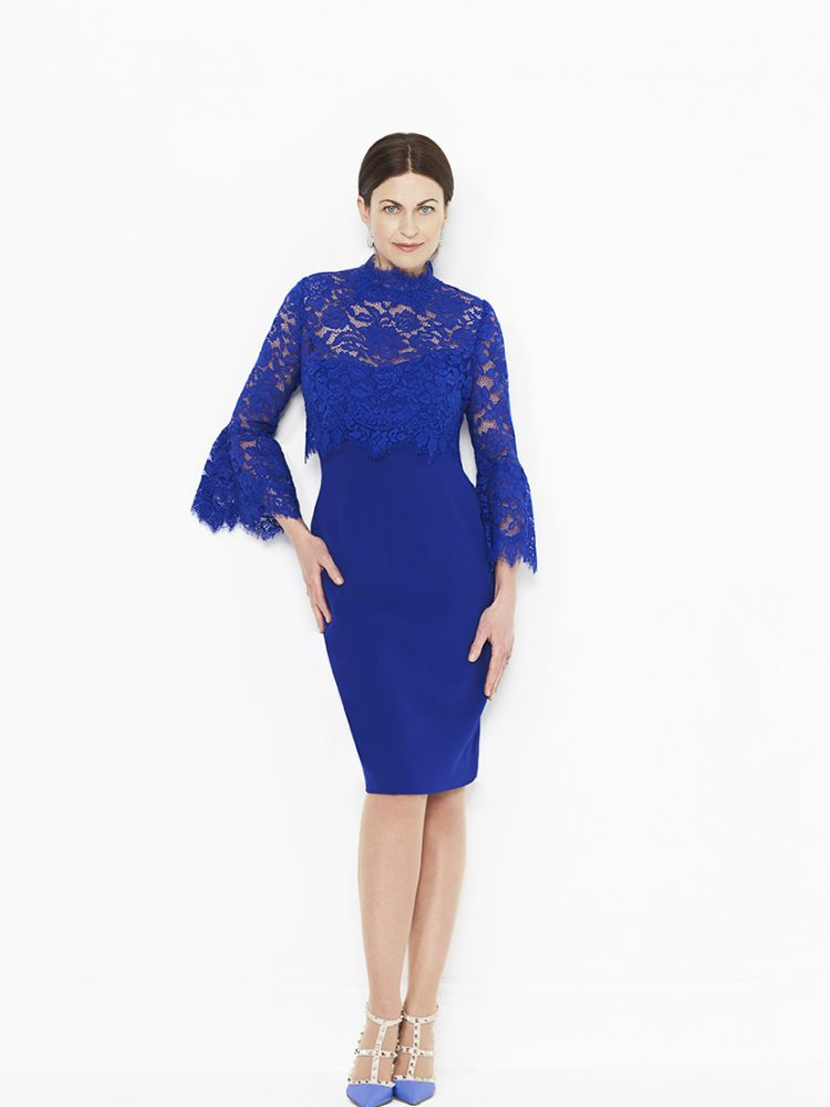 Blue dress with lace trumpet sleeve jacket