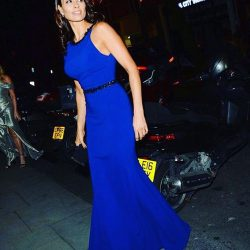 Melanie Sykes looks stunning in Sassi Holford Havana gown at the International Womens Day Gala