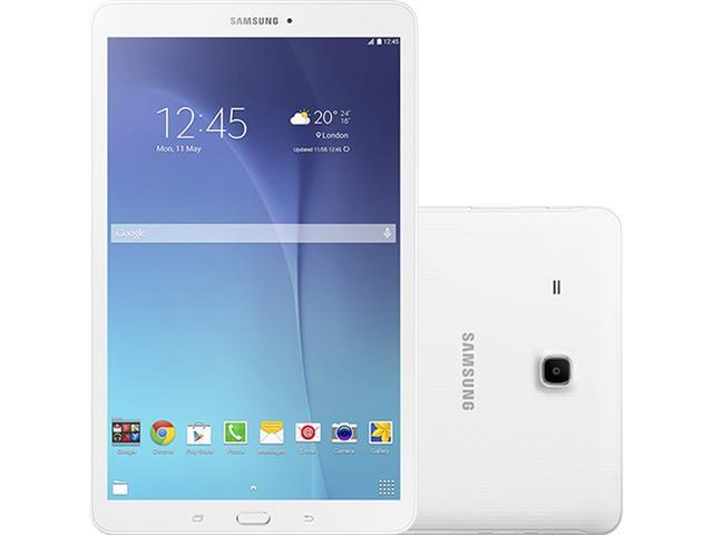 """Tablet Samsung Galaxy Tab E 3G Wi-Fi 8GB Tela 9.6"""" 5MP QuadCore Branco"""