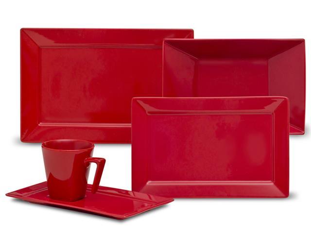Aparelho de Jantar Oxford Plateau Vermelho 30 peças