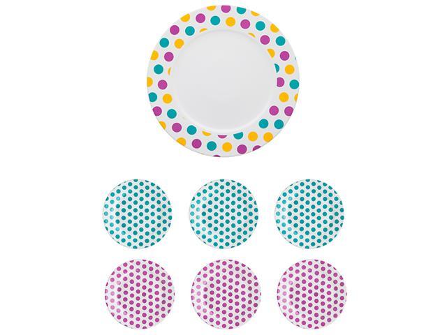 Conjunto de Pratos para Bolo Oxford Bolinhas Dots 7 peças