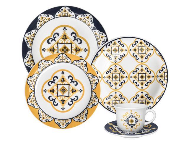 Aparelho de Jantar, Chá e Sobremesa Oxford Floreal São Luís em Porcelana - 20 Peças