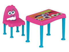 Conjunto de Mesa e Cadeira Tramontina Monster Kids Rosa