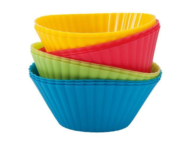 Kit 12 Formas de Silicone MOR para Cupcake e Muffin Coloridas
