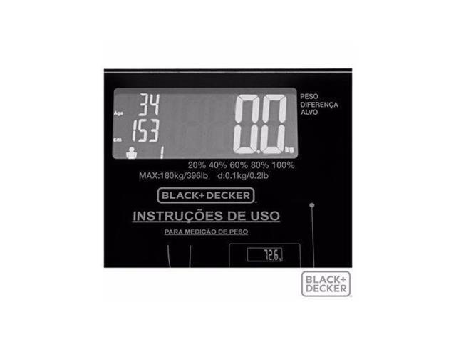 Balança Digital Vidro Banheiro Black&Decker Funções Especiais 180Kg - 1