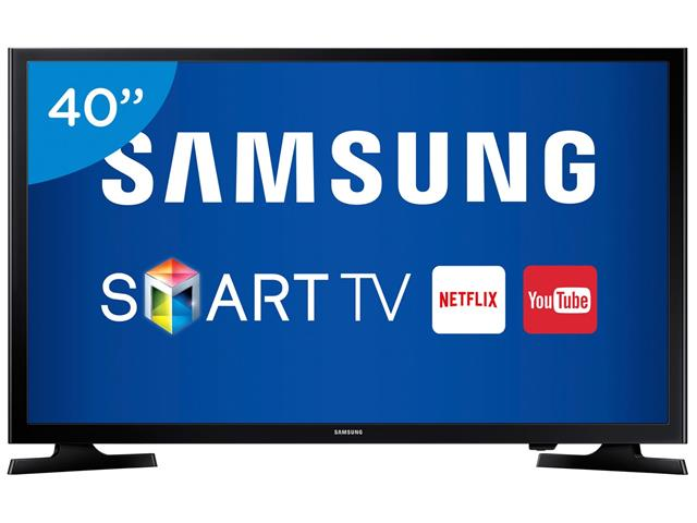 "Smart TV LED 40"" Samsung Full HD c/Conv. TV Digital 2 HDMI 1 USB Wi-Fi"