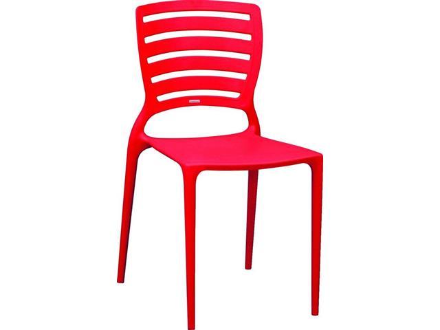 Cadeira Tramontina Sofia Encosto Vazado Horizontal Vermelha