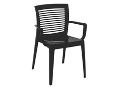 Cadeira/ Poltrona com Braço Tramontina Victoria Encosto Vazado Preta - 0