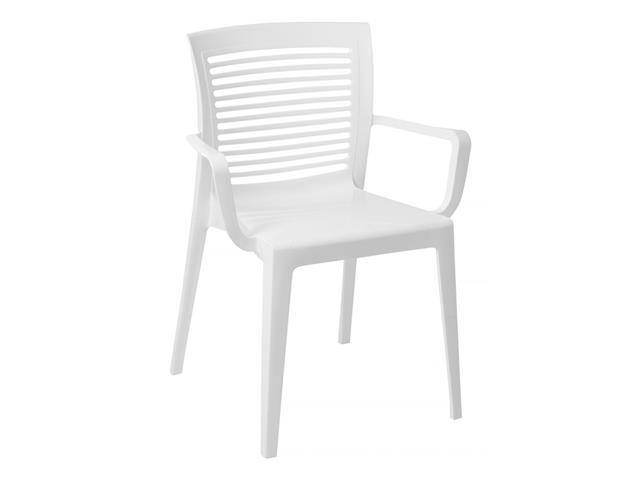 Cadeira/ Poltrona com Braço Tramontina Victoria Encosto Vazado Branca