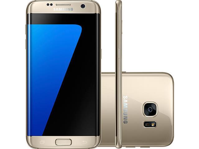 "Smartphone Samsung Galaxy S7 Edge 4G Tela 5.5""32GB Android 6.0 Dourado"