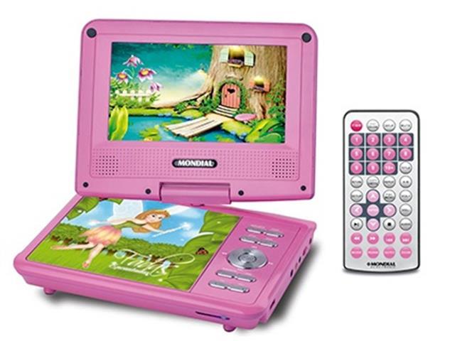 """DVD Portatil Mondial Fadas Encantadas com Tela LCD Giratoria 7"""" - 2"""