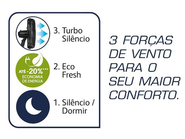 Ventilador de Mesa Arno Silence Force Preto e Prata 30cm - 9
