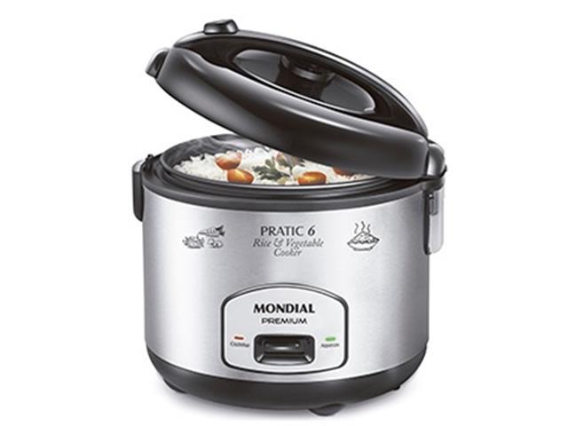 Panela de Arroz Elétrica Mondial RiceVegetable Cooker 6 Premium