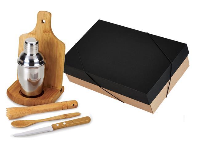 Kit para Caipirinha com Coqueteleira Inox Welf Bambu 6 peças