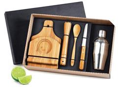 Kit para Caipirinha com Coqueteleira Inox Welf Bambu 6 peças - 1
