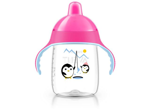 Copo Philips Avent Pinguim Rosa 330mL - 0