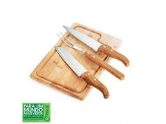 Conjunto Para Churrasco Welf Em Inox E Bambu Dallas - 4 Pçs