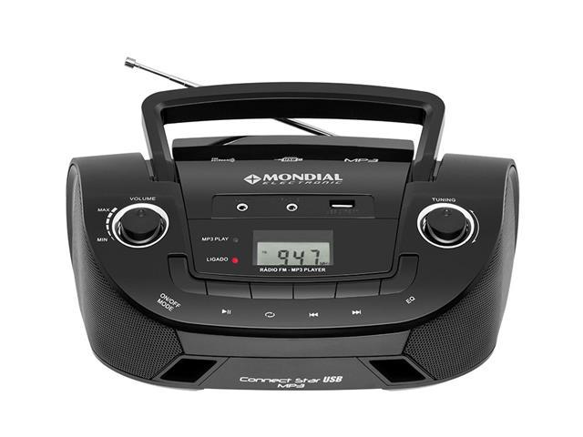 Rádio Portátil Mondial NBX06 Entrada USB, Auxiliar e Rádio FM Preto - 1