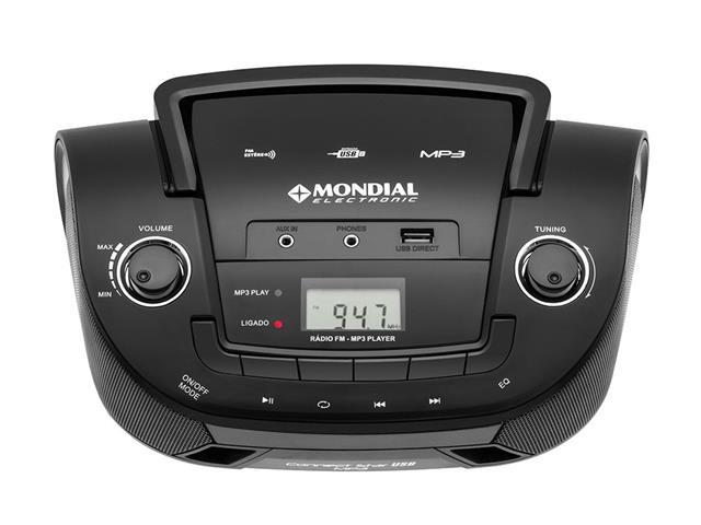 Rádio Portátil Mondial NBX06 Entrada USB, Auxiliar e Rádio FM Preto - 2