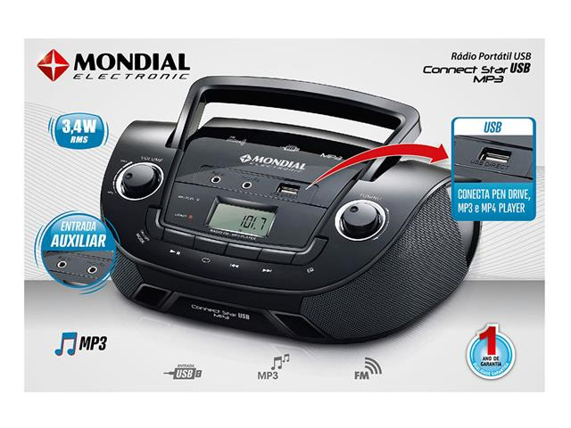 Rádio Portátil Mondial NBX06 Entrada USB, Auxiliar e Rádio FM Preto - 4