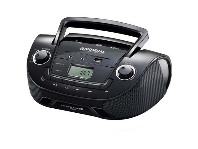 Rádio Portátil Mondial NBX06 Entrada USB, Auxiliar e Rádio FM Preto