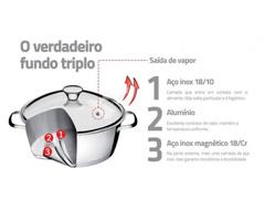 Jogo Cozi-Pasta Tramontina aço inox 2 peças Allegra com tampa de vidro - 2