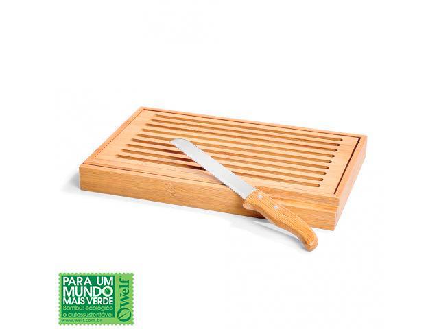 Migalheira Welf em bambu com faca verona 2 pçs