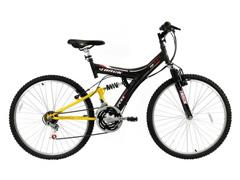Bicicleta Aro 26 Track Bikes MTB 100 Full 18 V Preto/ Amarelo