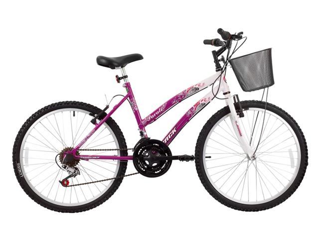 Bicicleta Aro 24 Juvenil Track Bikes Parati  18 V Branca/ Rosa