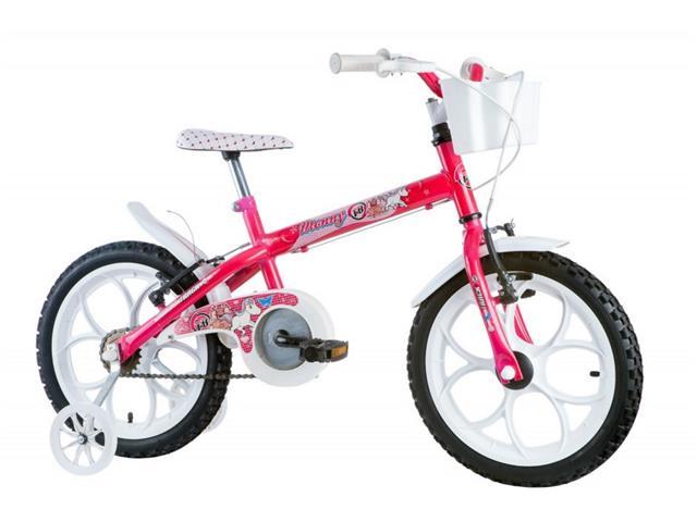 Bicicleta Aro 16 Infantil com Cesta Track Bikes Monny Pink Neon