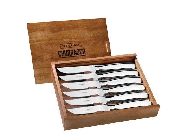 Conjunto de Facas para Churrasco com caixa Tramontina Aço Inox 6 peças