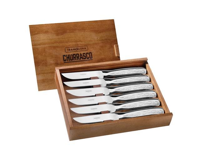 Conjunto Facas Serra para Churrasco com caixa Tramontina Inox 6 peças