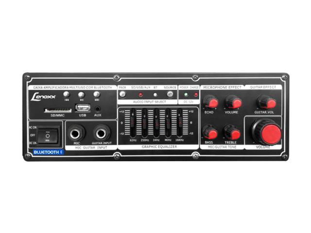 Caixa Amp. c/bateria recarregável,USB,MP3,cartão SD Lenoxx 150W - 3