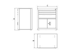 Módulo para bancada com 3 gavetas e 2 portas Tramontina PRO - 2