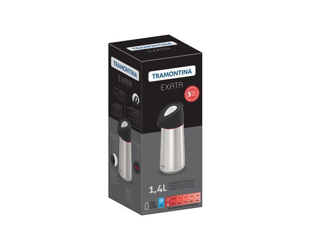 Garrafa Térmica Tramontina Exata Aço Inox com Ampola de Aço 1,4 Litros - 3