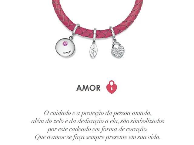 Pulseira Vivara Life Wishes Couro Rosa e Zircônia Amor - 4