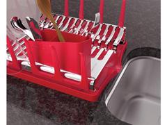 Escorredor de Louças Tramontina Plurale Aço Inox Vermelho - 1