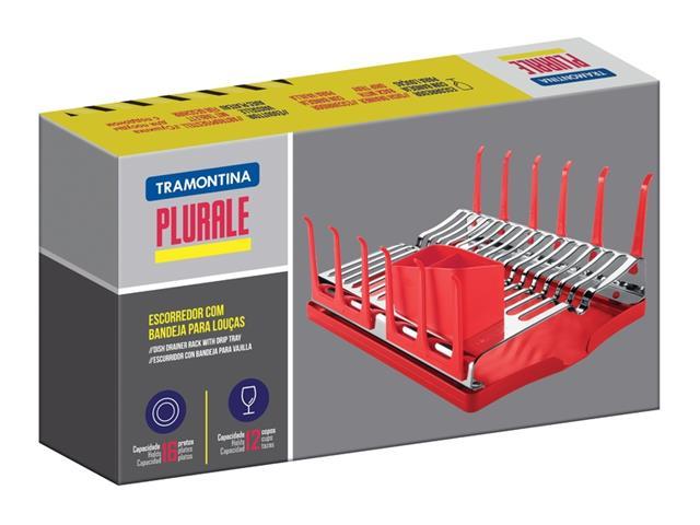Escorredor de Louças Tramontina Plurale Aço Inox Vermelho - 5