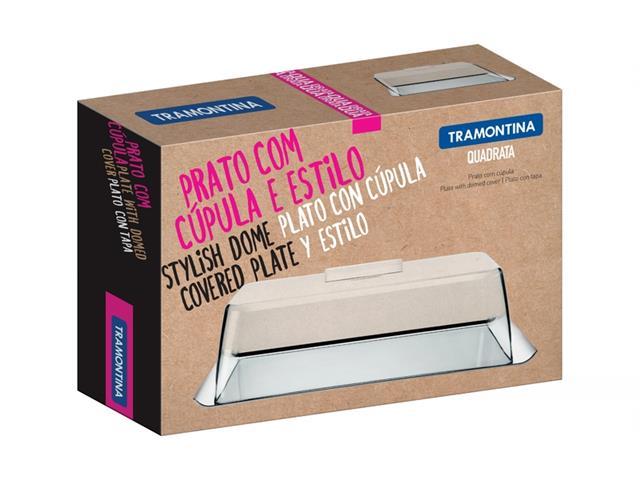 Prato Tramontina Quadrata Aço Inox com Cúpula - 2