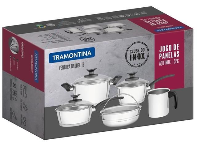 Jogo de Panelas Tramontina Ventura Baquelite Aço Inox 5 Peças - 1