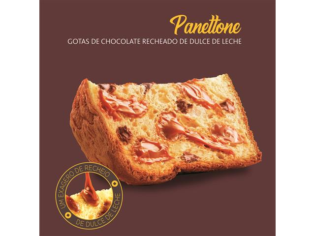 Panettone Havanna Lata Gotas de Chocolate Recheado Doce de Leite 700G - 2