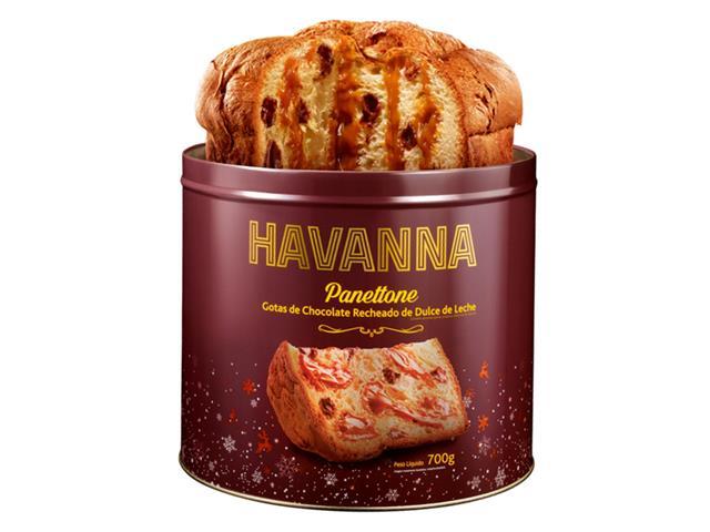 Panettone Havanna Lata Gotas de Chocolate Recheado Doce de Leite 700g - 3