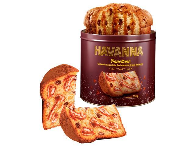 Panettone Havanna Lata Gotas de Chocolate Recheado Doce de Leite 700g