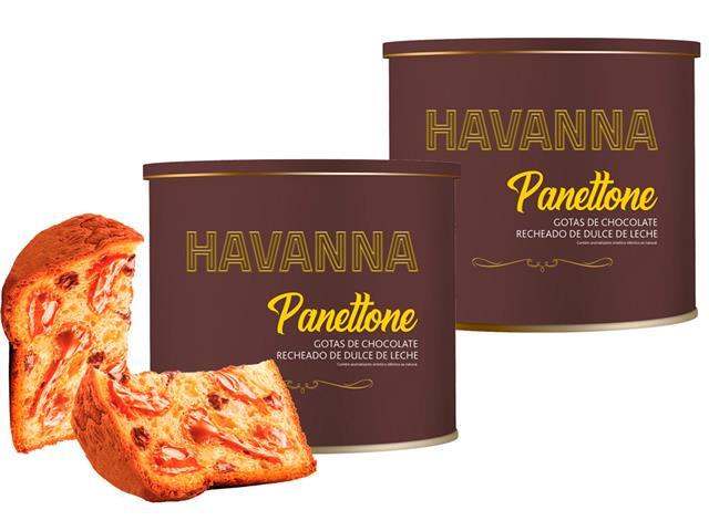 Combo Havanna 2 Panettones Lata Doce de Leite c/ Gotas de Choc. 700g