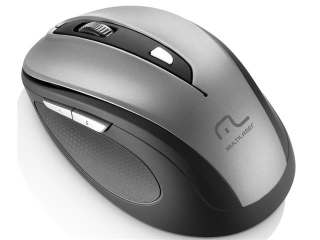 Mouse sem Fio Multilaser 2.4 Ghz Comfort USB 6 Botões Cinza